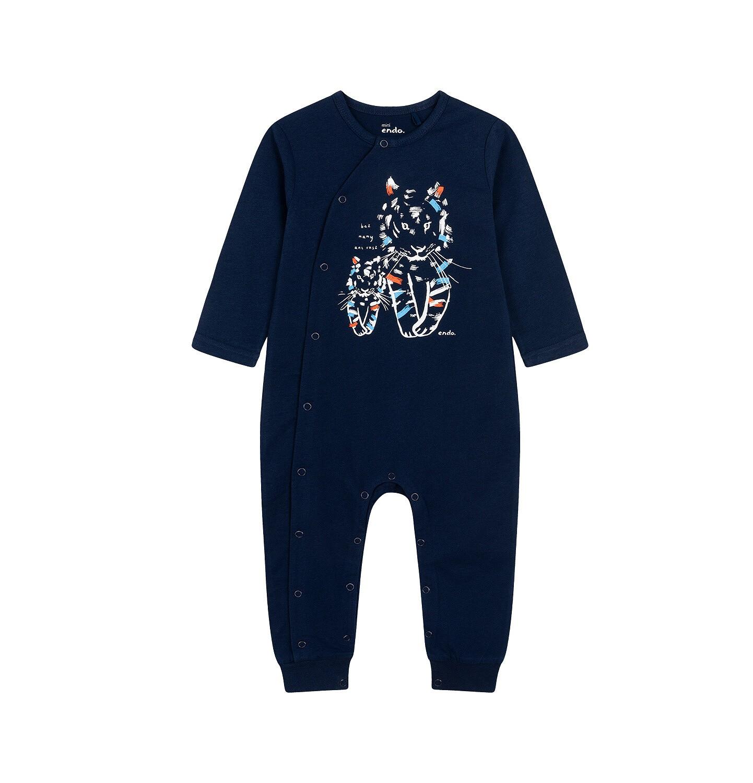 Endo - Pajac dla dziecka do 2 lat, z małym i dużym tygrysem, granatowy N05N039_1