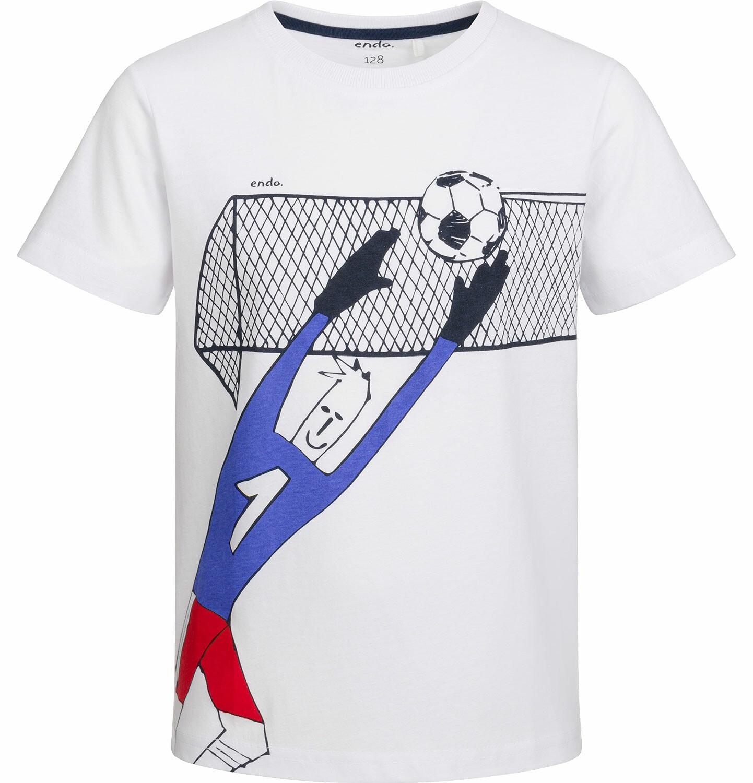 Endo - T-shirt z krótkim rękawem dla chłopca, z bramkarzem, biały, 2-8 lat C03G066_1