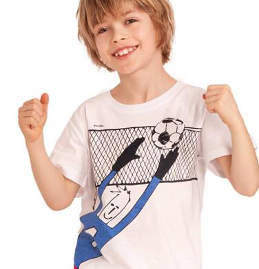 Endo - T-shirt z krótkim rękawem dla chłopca, z bramkarzem, biały, 2-8 lat C03G066_1 18