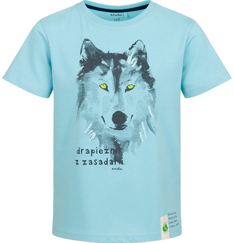 Endo - T-shirt z krótkim rękawem dla chłopca, z wilkiem, niebieski, 2-8 lat C03G118_2