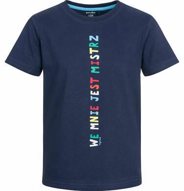 Endo - T-shirt z krótkim rękawem dla chłopca, we mnie jest mistrz, ciemnogranatowy, 2-8 lat C03G067_1