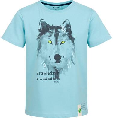 Endo - T-shirt z krótkim rękawem dla chłopca, z wilkiem, niebieski, 9-13  lat C03G618_2