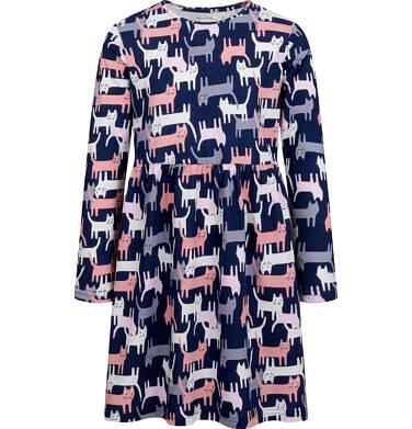 Endo - Sukienka z długim rękawem, deseń w koty, 9-13 lat D04H002_1 14
