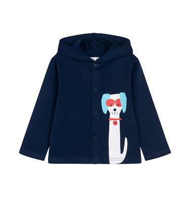 Endo - Rozpinana bluza z kapturem dla dziecka do 2 lat, z pieskiem, granatowa N05C020_1 17