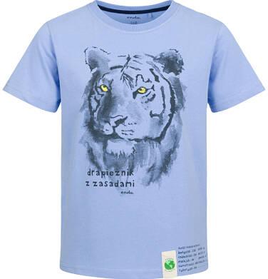 T-shirt z krótkim rękawem dla chłopca, z tygrysem, niebieski, 2-8 lat C03G120_1
