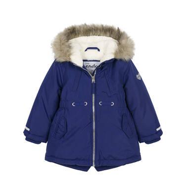 Endo - Zimowa kurtka parka dla małego dziecka, granatowa, koci odblask N92A016_1