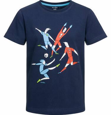 T-shirt z krótkim rękawem dla chłopca, z piłkarską drużyną, ciemnogranatowy, 9-13 lat C03G568_1