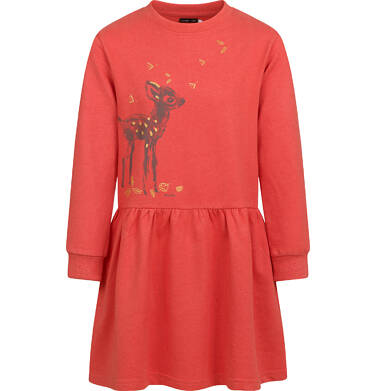 Sukienka z długim rękawem, leśny motyw, pomarańczowa, 3-8 lat D04H029_1