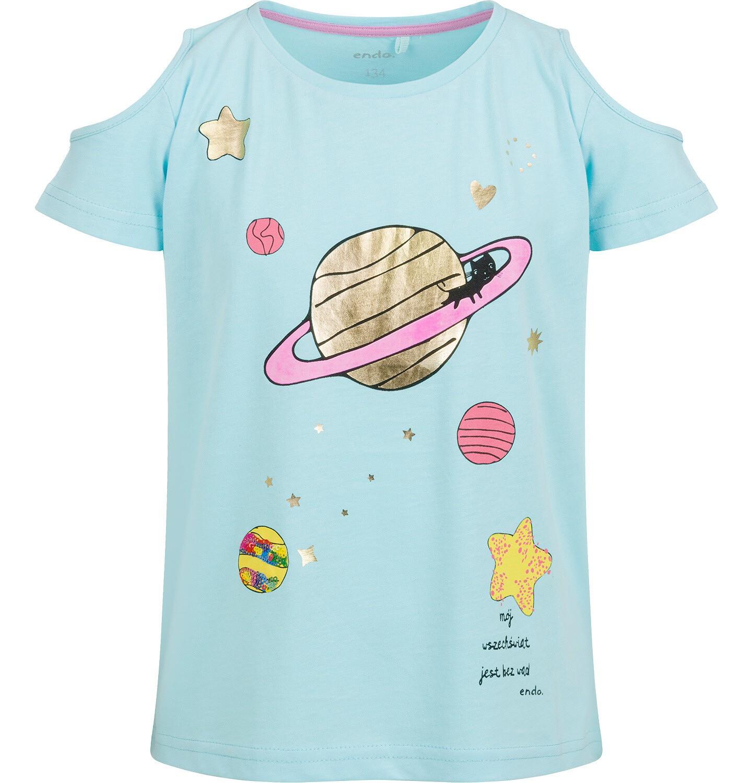 Endo - Bluzka z krótkim rękawem dla dziewczynki, z planetą i odkrytymi ramionami, niebieska, 9-13 lat D03G626_2