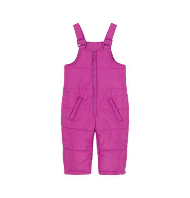 Spodnie ocieplane na szelkach dla małego dziecka, ciemnoróżowe N92A028_2