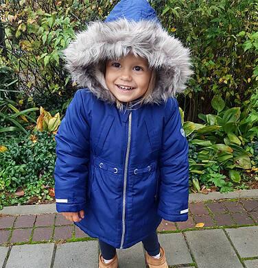 Endo - Zimowa kurtka parka dla dziewczynki 3-8 lat, ciemnogranatowa, z kocim odblaskiem D92A008_1