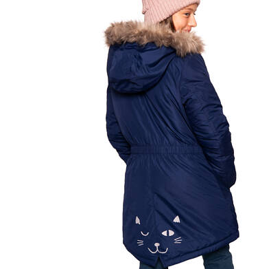 Endo - Zimowa kurtka parka dla dziewczynki 3-8 lat, ciemnogranatowa, z kocim odblaskiem, ciepła D92A008_1 12
