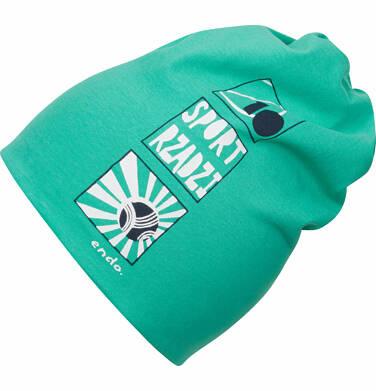 Endo - Czapka wiosenna dla chłopca, sport rządzi, zielona C03R005_1