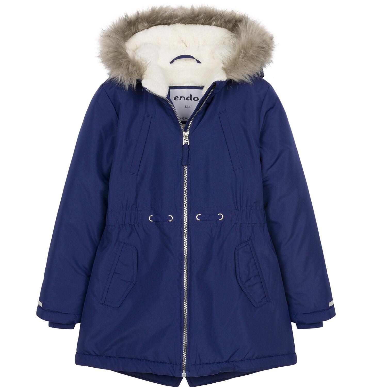 Endo - Zimowa kurtka parka dla dziewczynki 9-13 lat, ciemnogranatowa, z kocim odblaskiem, ciepła D92A508_1