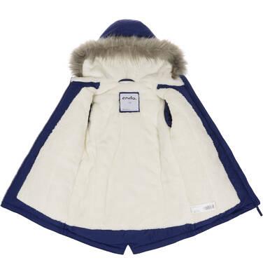 Endo - Zimowa kurtka parka dla dziewczynki 9-13 lat, ciemnogranatowa, z kocim odblaskiem, ciepła D92A508_1,4