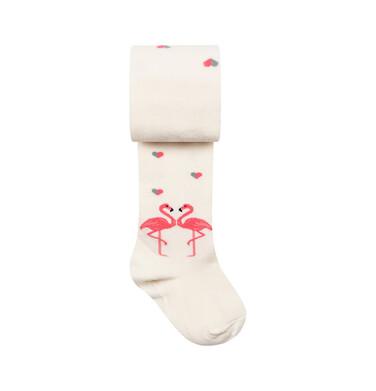 Endo - Rajstopy dziecięce, motyw z flamingami, w serca, kremowe D08P026_1 243