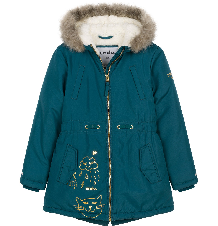 Endo - Zimowa kurtka parka dla dziewczynki 3-8 lat, Kocia pogoda, ciemnozielona D92A009_1