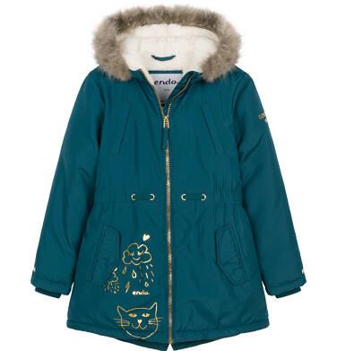 Zimowa kurtka parka dla dziewczynki 3-8 lat, Kocia pogoda, ciemnozielona D92A009_1