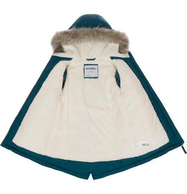 Endo - Zimowa kurtka parka dla dziewczynki 9-13 lat, Kocia pogoda, ciemnozielona D92A509_1