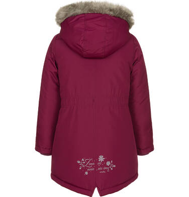 Endo - Zimowa kurtka parka dla dziewczynki 3-8 lat, Zima się mnie nie ima, bordowa, ciepła D92A010_1 6