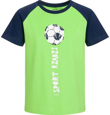 T-shirt z krótkim rękawem dla chłopca, z piłką, granatowo-zielony, 9-13 lat C03G575_1