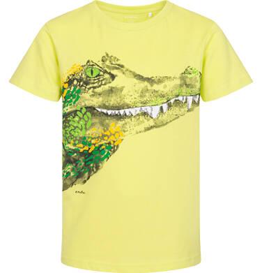 Endo - T-shirt z krótkim rękawem dla chłopca, z krokodylem, zółty, 9-13 lat C06G088_2 106