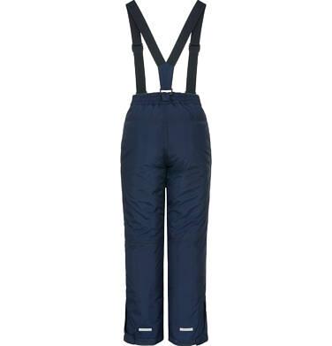 Endo - Spodnie ocieplane na szelkach dla dziewczynki 3-8 lat, granatowe D92A017_1,2