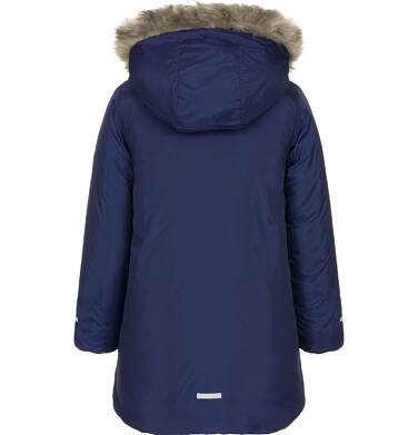 Endo - Zimowa kurtka dla dziewczynki 3-8 lat, indygo, polarowa podszewka, odblaskowy nadruk, ciepła D92A018_1 8