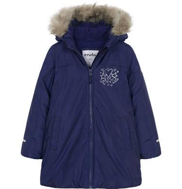 Endo - Zimowa kurtka dla dziewczynki 9-13 lat, indygo, polarowa podszewka, odblaskowy nadruk D92A518_1