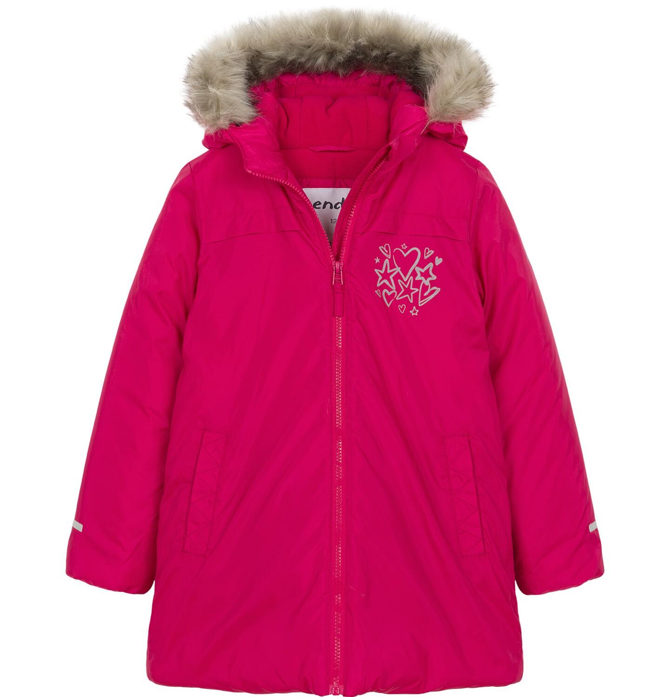 Endo - Zimowa kurtka dla dziewczynki 3-8 lat, malinowo-czerwona, polarowa podszewka, odblaskowy nadruk D92A018_2