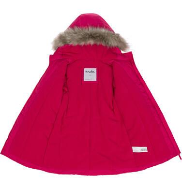 Endo - Zimowa kurtka dla dziewczynki 9-13 lat, malinowo-czerwona, polarowa podszewka, odblaskowy nadruk D92A518_2