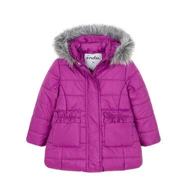 Endo - Zimowa kurtka dla małego dziecka, długa, ciemnoróżowa N92A014_1