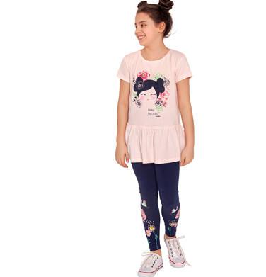 Endo - Leginnsy dla dziewczynki, z żurawiem w kwiatach, granatowe, 2-8 lat D03K009_1