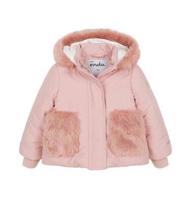 Zimowa kurtka dla małego dziecka, długa, różowa, z futrzanymi kieszeniami N92A015_1
