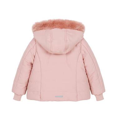 Endo - Zimowa kurtka dla małego dziecka, długa, różowa, z futrzanymi kieszeniami N92A015_1