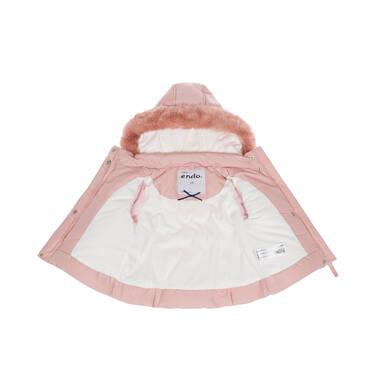 Endo - Zimowa kurtka dla małego dziecka, długa, różowa, z futrzanymi kieszeniami, ciepła N92A015_1 13