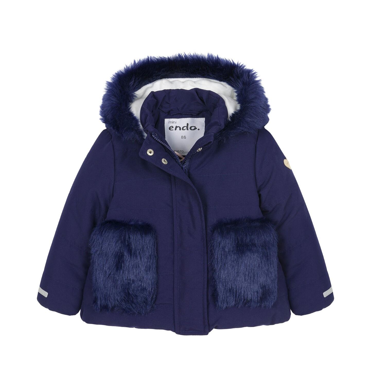Endo - Zimowa kurtka dla małego dziecka, długa, indygo, z futrzanymi kieszeniami, ciepła N92A015_2