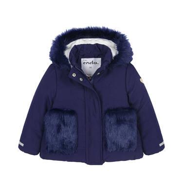 Endo - Zimowa kurtka dla małego dziecka, długa, indygo, z futrzanymi kieszeniami, ciepła N92A015_2 8