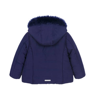 Endo - Zimowa kurtka dla małego dziecka, długa, indygo, z futrzanymi kieszeniami N92A015_2