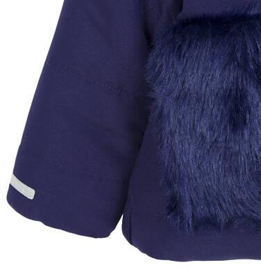 Endo - Zimowa kurtka dla małego dziecka, długa, indygo, z futrzanymi kieszeniami, ciepła N92A015_2,7
