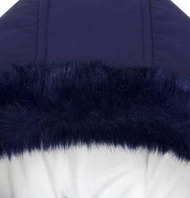 Endo - Zimowa kurtka dla małego dziecka, długa, indygo, z futrzanymi kieszeniami, ciepła N92A015_2,5