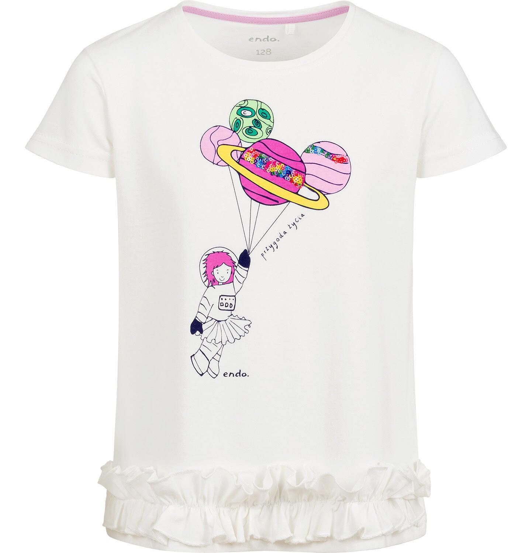 Endo - Bluzka z krótkim rękawem dla dziewczynki, z planetami, porcelanowa, 9-13 lat D03G629_1