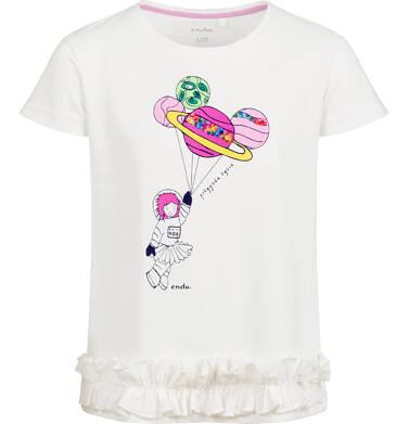 Endo - Bluzka z krótkim rękawem dla dziewczynki, z planetami, porcelanowa, 9-13 lat D03G629_1 130