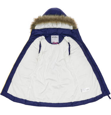 Endo - Zimowa kurtka dla dziewczynki 3-8 lat, długa, ciemnogranatowa, kokardki na rękawach D92A002_1