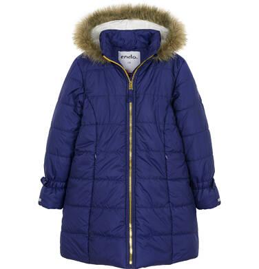 Endo - Zimowa kurtka dla dziewczynki 9-13 lat, długa, ciemnogranatowa, kokardki na rękawach D92A502_1