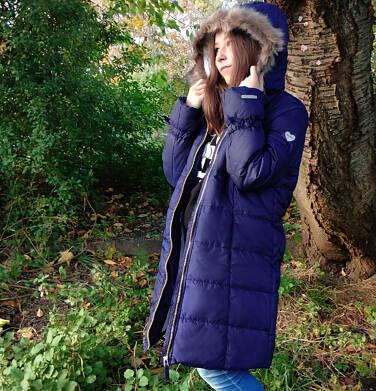 Endo - Zimowa kurtka, płaszcz dla dziewczynki 9-13 lat, długa, ciemnogranatowa, kokardki na rękawach, ciepła D92A502_1 8
