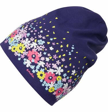 Endo - Czapka wiosenna dla dziewczynki, deseń w kwiaty, granatowa D03R005_1