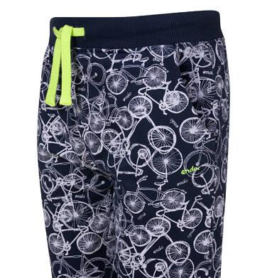 Endo - Spodnie dresowe dla chłopca, deseń w rowery, granatowe, 2-8 lat C03K053_1,2