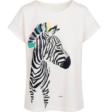 Endo - T-shirt damski z zebrą, kremowy Y05G012_1 30