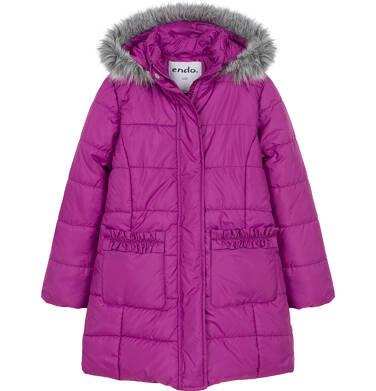 Zimowa kurtka dla dziewczynki 3-8 lat, długa, ciemnoróżowa, z falbankami na kieszeniach D92A004_1